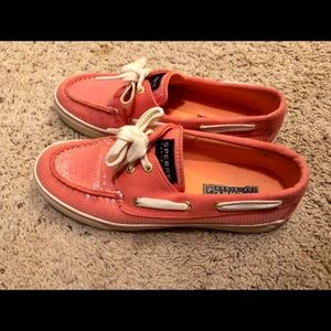 Sperry's coral with sequins